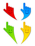 Smiling aiming hands. Illustration for the web Stock Photo