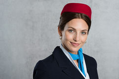 Portrait of young air hostess Stock Photos