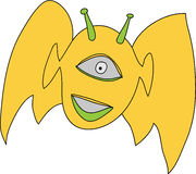 Smiling alien flying Royalty Free Stock Photography