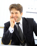 smiling alone business man Stock Photo