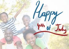 Smiling american family for the 4th of July stock photo