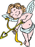 Smiling Angel Cupid with bow and arrow in the color of for Valentine's day Royalty Free Stock Photos