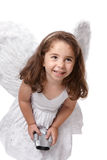Smiling angel fairy with binoculars Royalty Free Stock Photo
