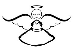 Smiling angel. Happy angel illustration over white background Royalty Free Stock Photography