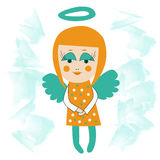 Smiling angel. Smiling little angel girl with blue wings and halo, big eyes and smile. Flying in clouds Stock Images