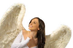 Smiling angel looking up Stock Images