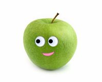 Smiling apple. Over white background Stock Photography