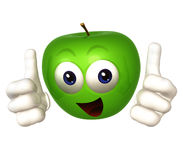 Smiling apple cartoon figure Stock Photography