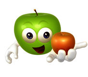 Smiling apple cartoon figure Stock Photo