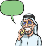 Smiling arab man talking on a mobile phone. Vector illustration of cartoon - smiling arab man talking on a mobile phone. Easy-edit layered vector EPS10 file Royalty Free Stock Photos