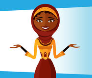 Smiling arab office woman presents something. Presenting muslim Royalty Free Stock Photos