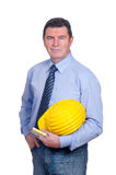 Smiling architect. Portrait of Smiling architect with helmet Royalty Free Stock Images