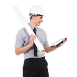Smiling architect reading something on a digital tablet Stock Image