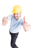 Smiling architect showing thumbs up Royalty Free Stock Photos
