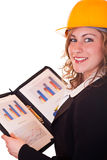 Smiling architect woman and documents Stock Photos