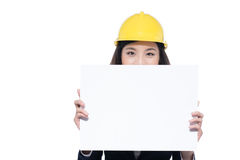 Smiling architect woman hold blank sign board. Isolated portrait Stock Image