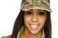 Smiling army woman Royalty Free Stock Photography