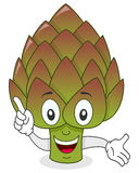 Smiling Artichoke Cartoon Character. A cute cartoon artichoke character smiling, isolated on white background. Eps file available Stock Photos