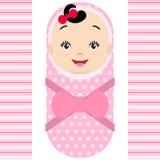 Smiling asian baby girl isolated on white background. stock illustration