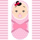 Smiling asian baby girl with pacifier  on white background. Vector cartoon mascot. Holiday illustration to Birthday, Baby vector illustration