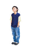 Smiling asian boy posing. Isolated on white with clippling path stock photo