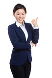 Smiling asian business woman give thumb up Royalty Free Stock Photo
