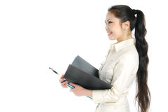 Smiling asian business women holding folder Stock Image