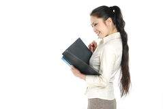 Smiling asian business women holding folder Stock Photos