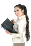 Smiling asian business women holding folder Royalty Free Stock Photography