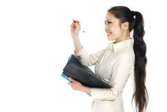 Smiling asian business women holding folder Royalty Free Stock Photo