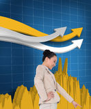 Smiling asian businesswoman pointing Stock Photo