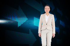 Smiling asian businesswoman walking Stock Photos