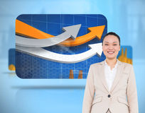 Smiling asian businesswoman walking Stock Photography