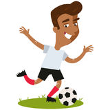 Smiling asian cartoon football player shooting football Stock Image