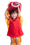 Smiling Asian Chinese little girl with Lion Dance costume. Celebrating Chinese New Year in isolated white background Stock Photography