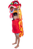 Smiling Asian Chinese little girl with Lion Dance costume Stock Photos