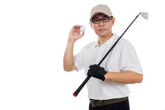 Smiling Asian Chinese Man posing with Golf Club and ball Stock Photo