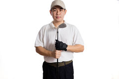 Smiling Asian Chinese Man posing with Golf Club Stock Image