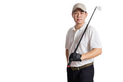 Smiling Asian Chinese Man posing with Golf Club Stock Photo
