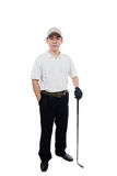 Smiling Asian Chinese Man posing with Golf Club Royalty Free Stock Photography