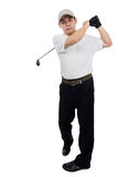 Smiling Asian Chinese Man Swinging Golf Club Royalty Free Stock Image