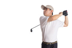 Smiling Asian Chinese Man Swinging Golf Club Stock Photo