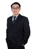 Smiling Asian Chinese man wearing suit posing with confident Royalty Free Stock Photos