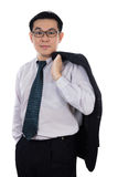 Smiling Asian Chinese man wearing suit posing with confident Royalty Free Stock Photography