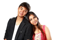 Smiling asian couple in love. Closeup smiling asian couple in love, Isolated over white royalty free stock photography