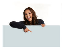 Smiling Asian Female Holding a blank Sign  Isolated Stock Images