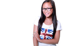 Smiling asian girl in glasses Stock Image