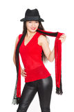 Smiling Asian girl with a red scarf. Mixed race Asian Caucasian girl Stock Photography