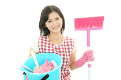 Smiling Asian housewife royalty free stock image