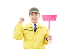 Smiling Asian janitor Stock Image